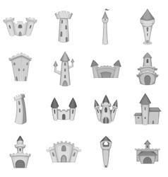 Castle tower icons set monochrome style vector image