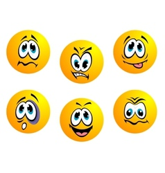 Collection of yellow emoticons vector