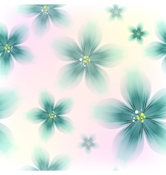 Colorful Blue Floral Seamless Pattern vector image