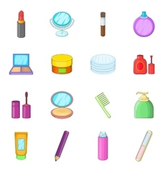 Cosmetics items icons set cartoon style vector image