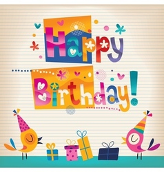 Cute birds Happy Birthday card vector