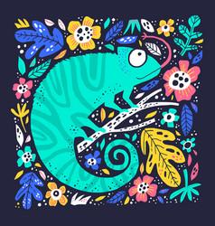 cute little chameleo hand drawn flat vector image