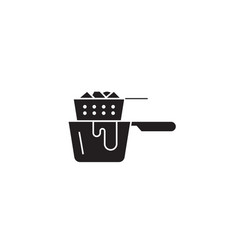 deep frying cooking pan black concept icon vector image