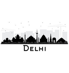 Delhi india city skyline black and white vector