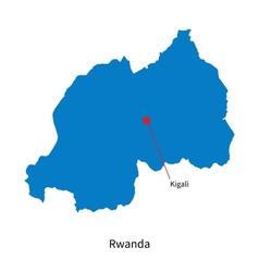 Detailed map of Rwanda and capital city Kigali vector