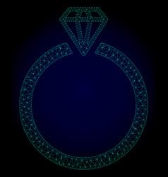 diamond ring polygonal frame mesh vector image