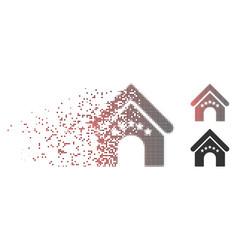 Disintegrating pixel halftone hotel building icon vector
