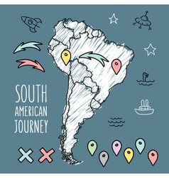 Doodle South America map on navy blue chalkboard vector