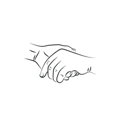Drawn female and a male person holding hands vector