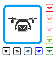drone mail framed icon vector image