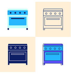 Electric range icon set in flat and line styles vector
