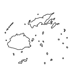 fiji map of black contour curves of vector image