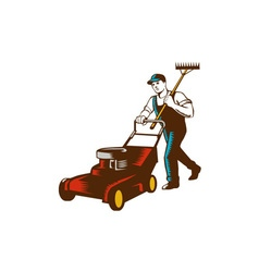 Gardener Lawn Mower Rake Woodcut vector image