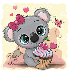 Greeting card cartoon koala with cake vector