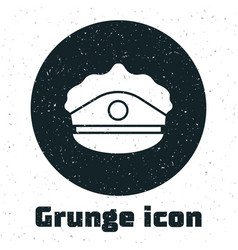 Grunge police cap with cockade icon isolated on vector