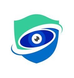 Guard watch blue modern shield symbol logo design vector