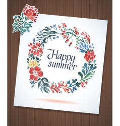 Happy Summer watercolor floral wreath with paper vector
