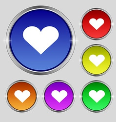 Heart Love icon sign Round symbol on bright vector image