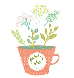 Herbal tea cup - retro style vector image