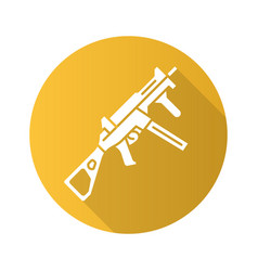 Hk ump weapon flat design long shadow glyph icon vector