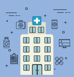 hospital building with medical healthcare icons vector image
