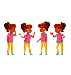 indian girl kid poses set high school vector image