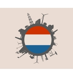 Industrial silhouettes Netherlands flag vector