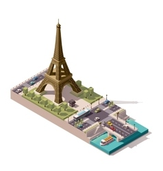 isometric map eiffel tower vector image