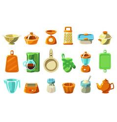 Kitchenware sett kitchen utensils cookware vector