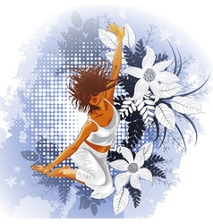 Lady Jumping Infront of a Floral Background vector image