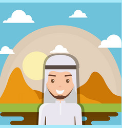 landscape of dry desert with arabic man vector image