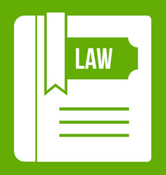 law book icon green vector image