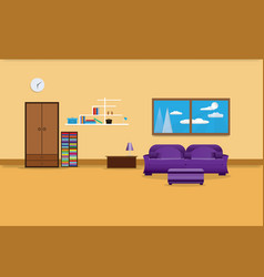 Living room interior design relax with sofa vector