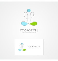 Logo man in yoga pose vector image