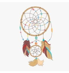 Magical dreamcatcher with sacred feathers to catch vector