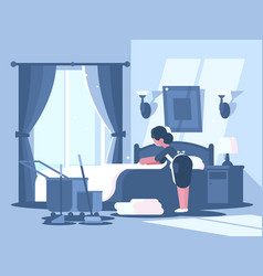 Maid cleaning in hotel room vector