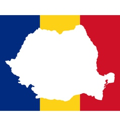 Map and flag of romania vector
