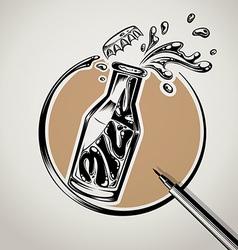 Milk bottle typography logo design vector