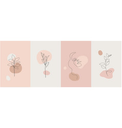 Minimalist style portrait nature set vector