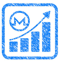 monero growing graph framed stamp vector image