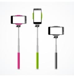 Monopod Selfie Colorful Set vector image