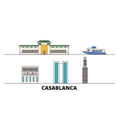 morocco casablanca flat landmarks vector image