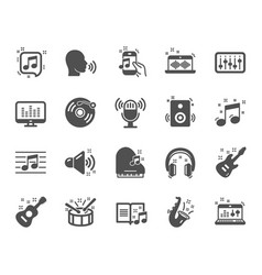 music icons set of acoustic guitar musical note vector image