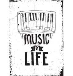 Music is life Simple inspirational quote poster vector