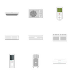 office conditioner icon set flat style vector image