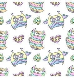 ornamental owls seamless vector image