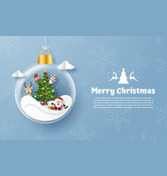 postcard christmas ball with santa claus vector image