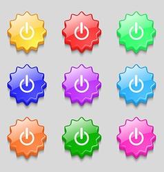 Power sign icon Switch symbol Symbols on nine wavy vector image vector image