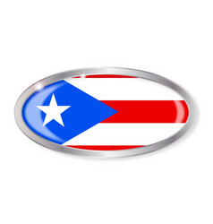 Puerto rico flag oval button vector