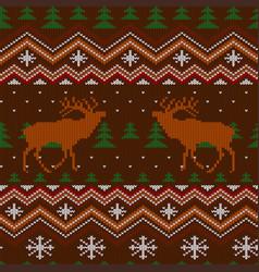 Red deer winter knitted woolen seamless pattern vector